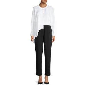 H by Halston Black & White Long Sleeve Jumpsuit XS